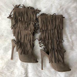 Taupe fringe open toe boots